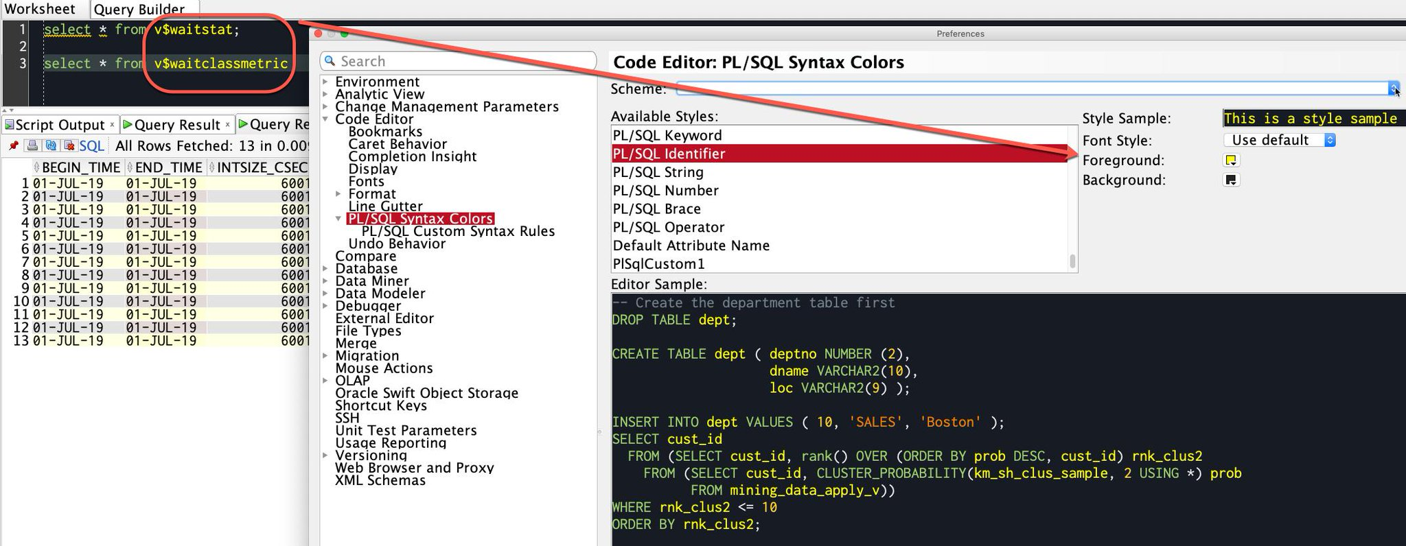 "Oracle SQL Developer sur Twitter : ""Want your table (or column or any type  of objects) in your code to be a certain color in the SQL Worksheet and  Code Editors? Inspect"
