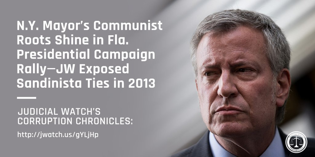 NY Mayor Bill de Blasio's red past showed in Miami where the Democratic presidential candidate offended the masses by glamorizing a Marxist revolutionary who executed thousands to impose communism/begged his Soviet compadres to nuke the U.S. http://jwatch.us/hZ8xwB