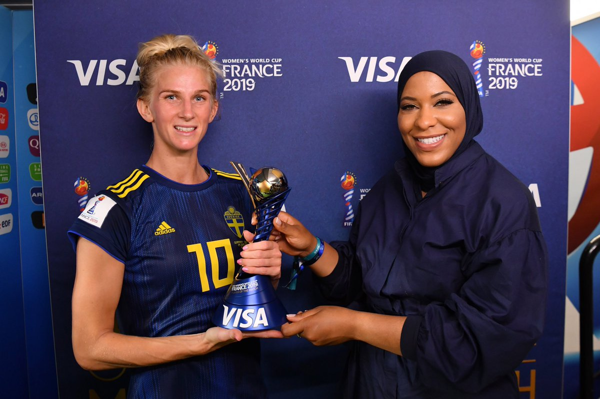 One barrier-breaking Muslim-American Olympian. One #PlayerOfTheMatch. Two women who are changing the game. Muslim-American Olympian fencer @IbtihajMuhammad presented the #PlayerOfTheMatch award to Sofia Jakobsson. @FIFAWWC #GERSWE #ItTakesOneMoment #FIFAWWC