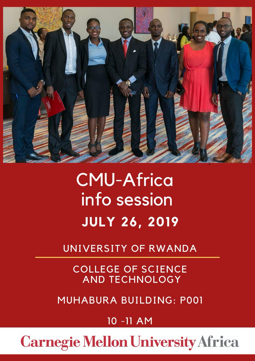 We'll be having an Info Session at the @urcst on July 26th at 10am. We'll be sharing information about our Master of Science in Information Technology and Master of Science in Electrical and Computer Engineering degrees. #ApplyToCMUAfrica <br>http://pic.twitter.com/XNp4thsksq