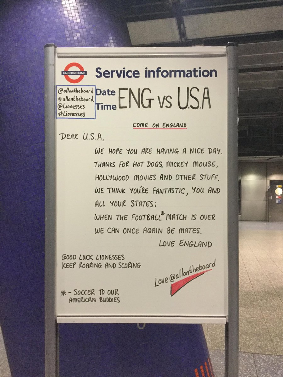 🏴󠁧󠁢󠁥󠁮󠁧󠁿🦁 The World Cup buzz has taken over the London Underground as the country gets behind the #Lionesses!  📷 @allontheboard   #FIFAWWC   #ENGUSA
