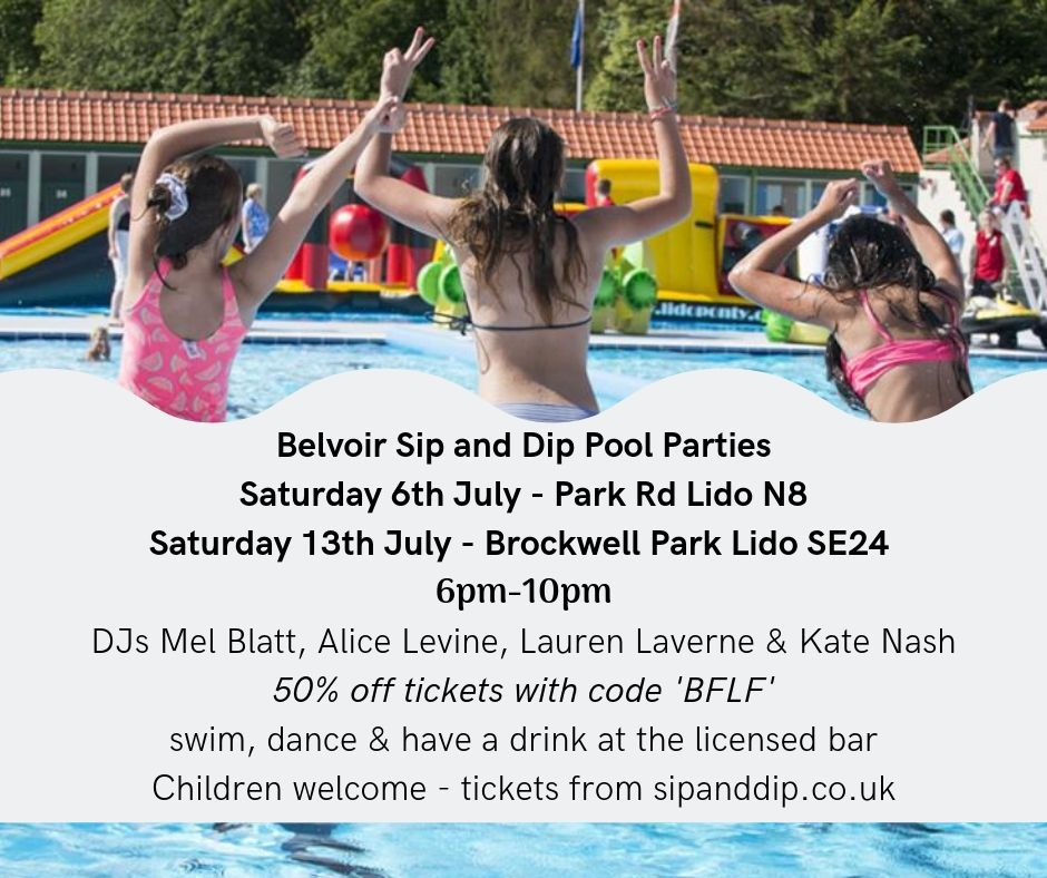 The nice people at @belvoirff Sip and Dip events at Crouch End Lido (6 July) and Brockwell Park Lido (13 July) are giving 50% off both adult and child tickets to the evening sessions (6-10pm) to BFLF fans. Just enter code BFLF for discount. https://t.co/d9C7Ak0WOX https://t.co/7CavxSHtOl