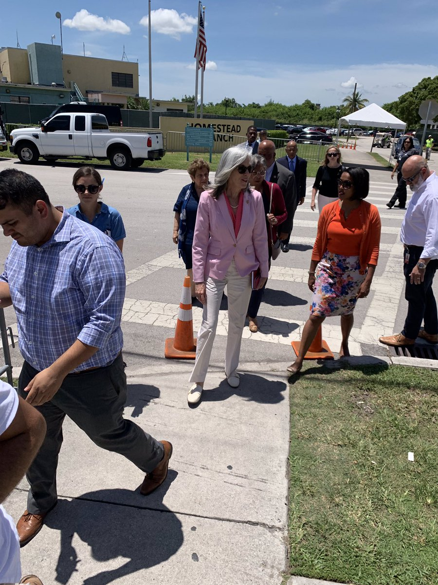 Congressional delegation about to enter #Homestead Detention Center. There are currently 2292 unaccompanied minors being housed here. I need to see what is on the other side of these gates. @RepWilson @RepKClark @BennieGThompson @RepDean @repjohnlewis @RepLawrence @RepShalala
