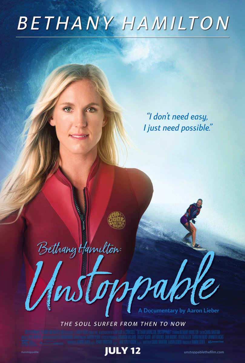 Bethany Hamilton World Champion surfer had her arm bitten off by shark. She's quoted in my book. This is her movie!
