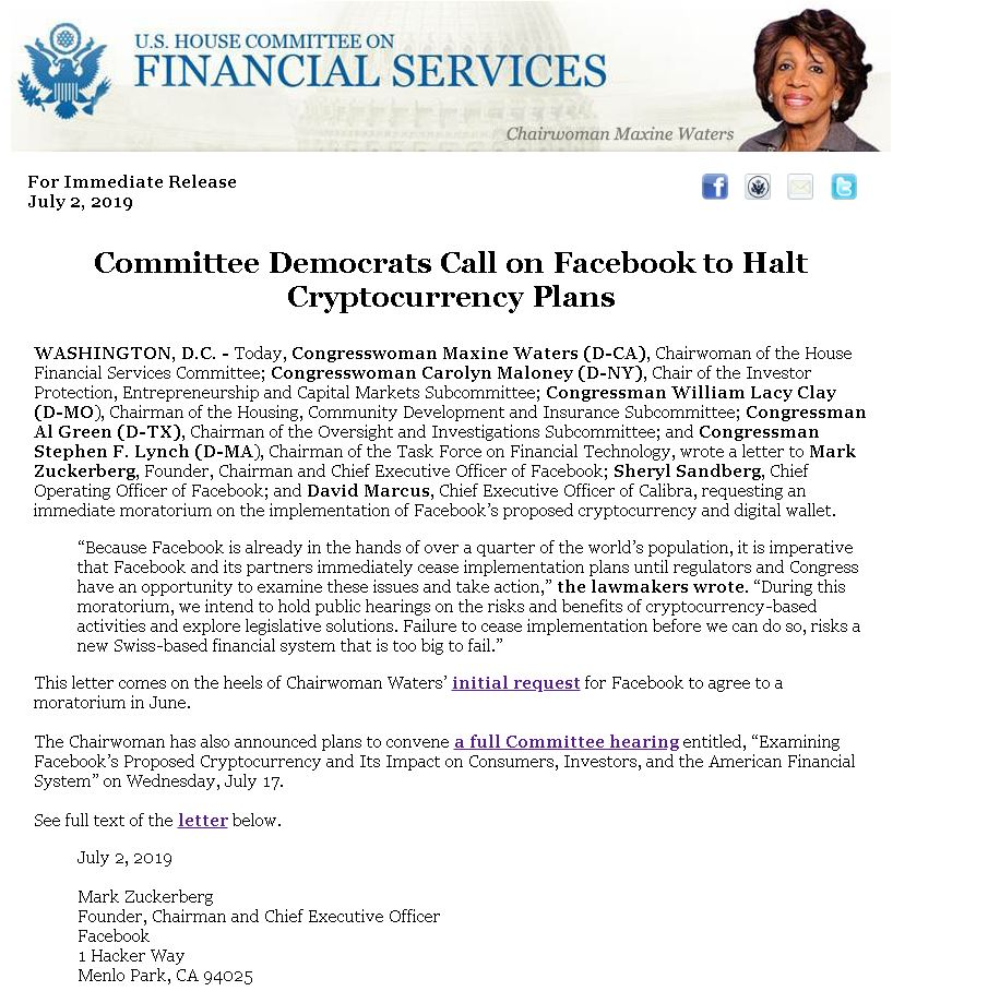 Lawmakers Urge Facebook To Delay Libra, Issuing Stark Warnings For Global Economy