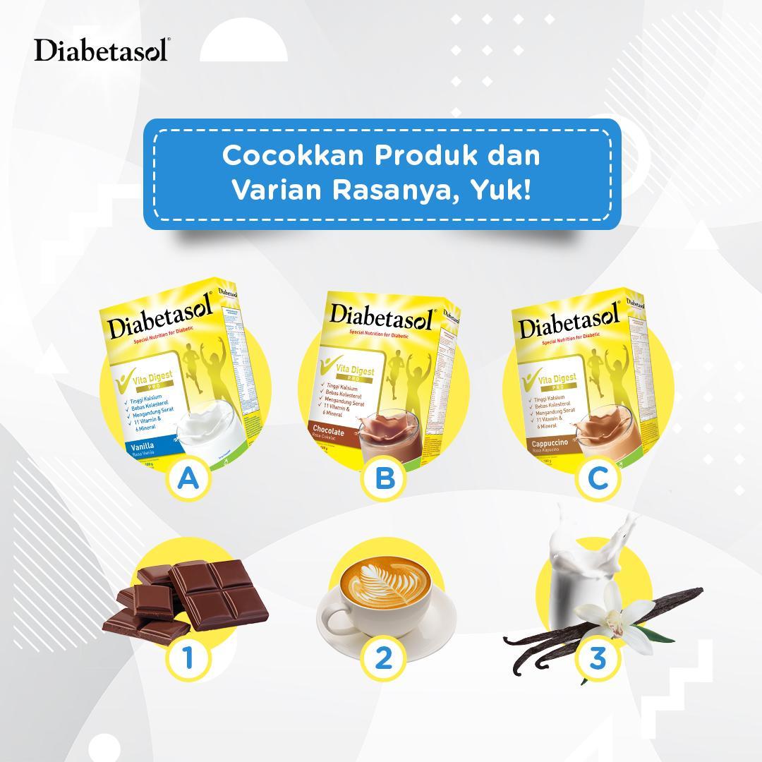 Saatnya #DiabetasolQuiz! Jawab pertanyaan ini, mention 3 sahabat, follow akun Diabetasol, dan selalu aktif. Jawaban hingga 4 Juli 2019.Beli Diabetasol di http://bit.do/DiabetasolOfficialKalbestore….#IndonesiaLawanDiabetes #BersamaDia #JagaGulamu #WaktunyaDiabetasol