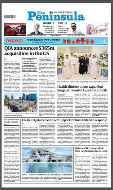 Read today's edition of The Peninsula (July 3) for latest updates on #Qatar #Gulf #MiddleEast #News #OICSummit #QNTC #SummerInQatar #Healthcare #QIA #Investments  https://thepeninsulaqatar.com/issuesCategories…