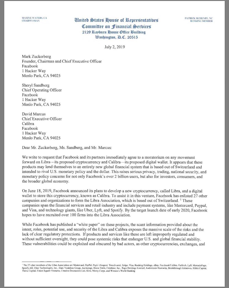 12126298d0a This letter from the US Congress to Facebook re: Libra is quite something.  It's pretty transparent about the things that scare them about it.