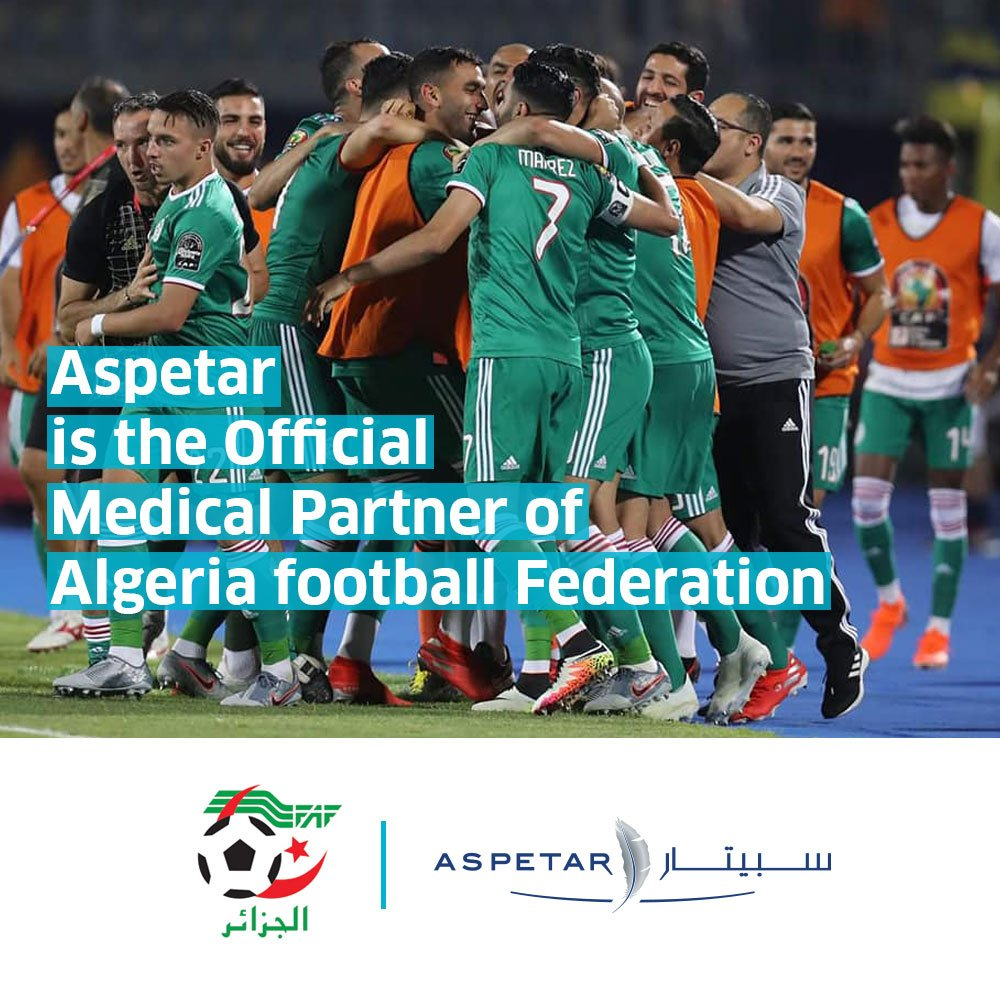 Congratulation to #Algeria national football team for reaching the second stage of the African Cup of Nations 2019. Aspetar is the official medical partner of the Algerian Football Federation.   @LesVerts #123VivaLAlgerie #LesVerts #LesFennecs #TeamDz #CAN2019<br>http://pic.twitter.com/xvCt0o16wt