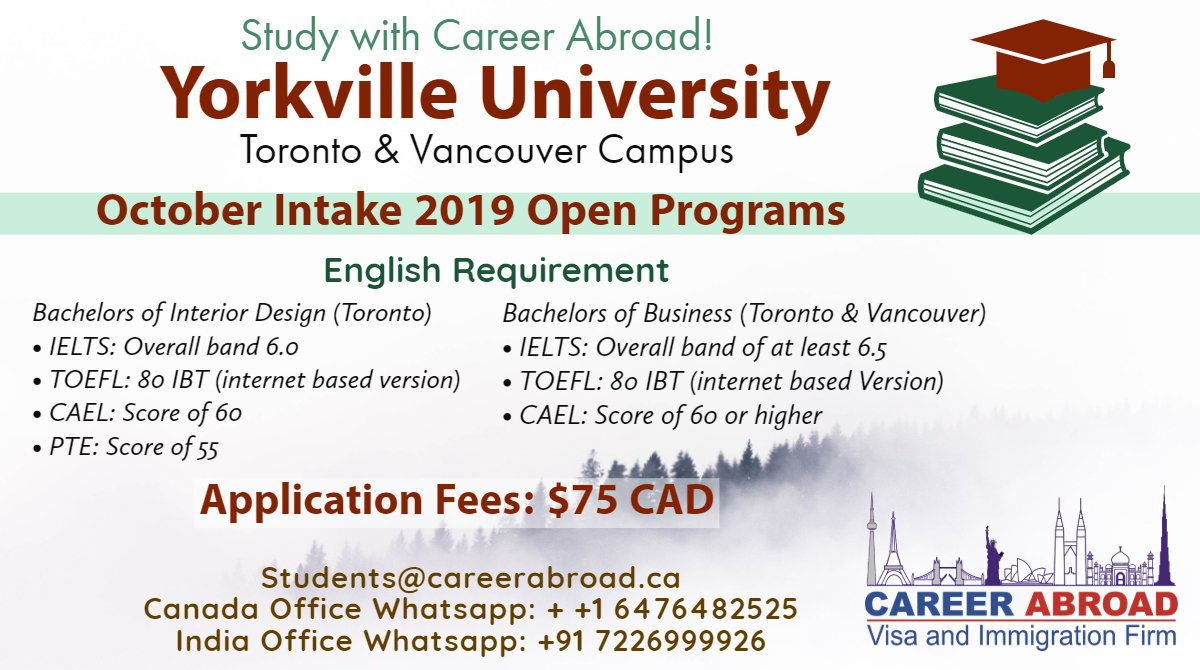 Career Abroad On Twitter Study In Canada October 2019 Intake Yorkvilleu Apply Now Email Documents At Students Careerabroad Ca Careerabroad Studdentvisa Studycanadavisa Yorkville Yorkvilleontario Collegegraduation Collegegrad
