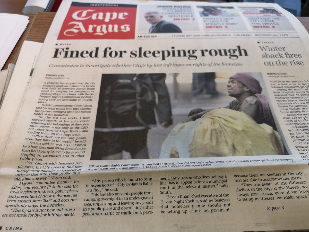 The @CityofCT is fining homeless people. How do you even? 😳