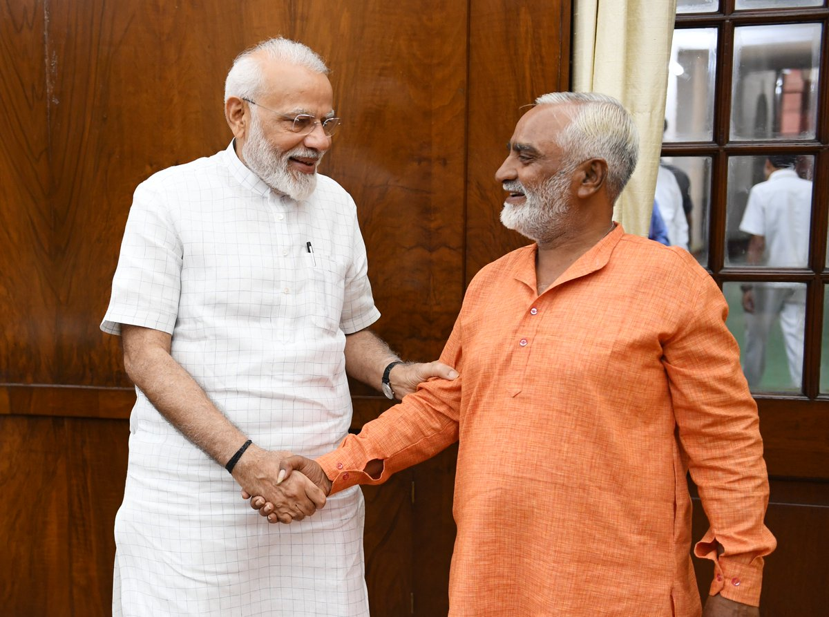 Photo story: Khemchandbhai from Amreli cycles 1100 km to Delhi as BJP wins 300+ LS seats; PM meets him
