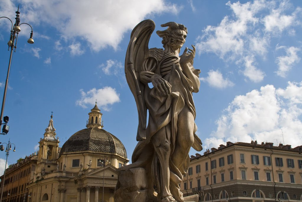 Angels and Demons statue, Piazza Del Popolo in Rome, Italy