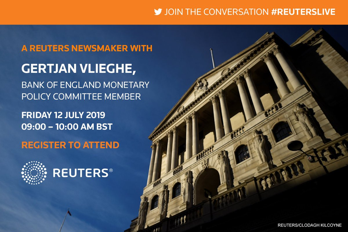 Join us for a @Reuters Newsmaker with Gertjan Vlieghe, a member of @bankofengland Monetary Policy Committee at Reuters HQ in Canary Wharf #reuterslive TO REGISTER: https://tmsnrt.rs/324vFFN  https://www.bankofengland.co.uk/speech/2019/gertjan-vlieghe-thomson-reuters…