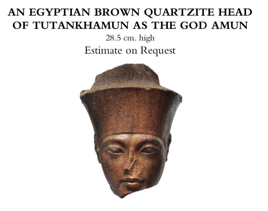 ⭕️ Questions for Christies with regards to its upcoming sale of the Quartzite head of the young pharaoh portrayed as the ancient god Amun ℹ️ art-crime.blogspot.com/2019/07/questi… @ARCA_artcrime ℹ️ archaeologyin.org