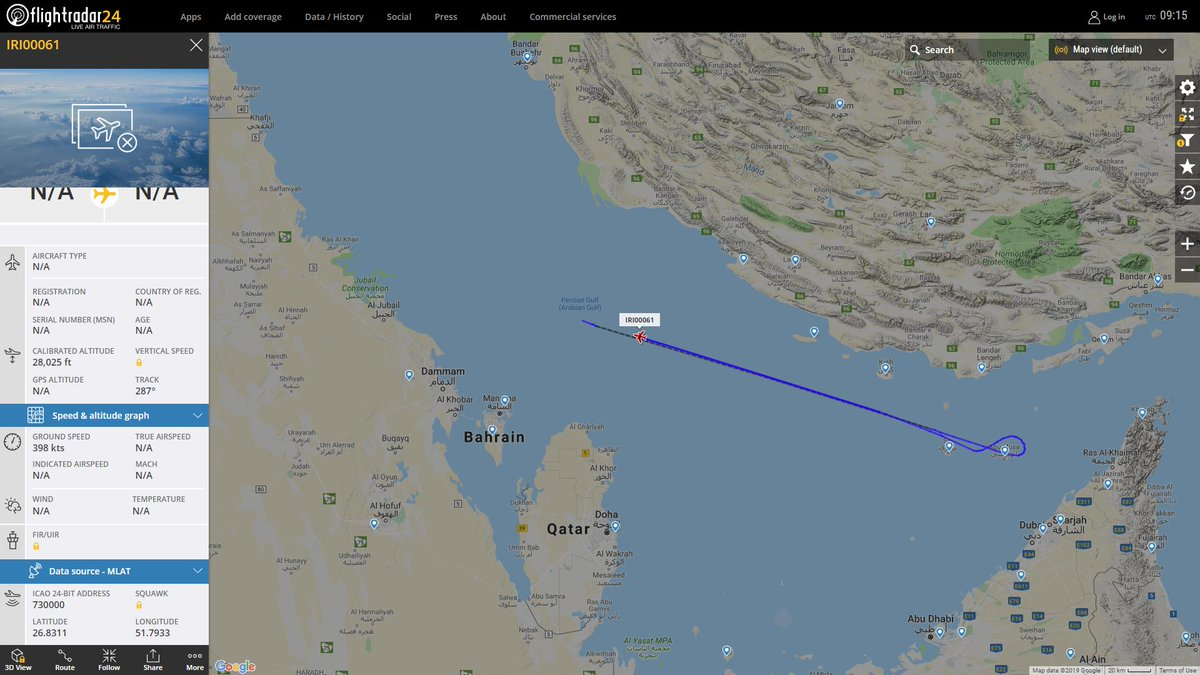 USAF Rivet Joint tracking over The #PersianGulf, spoof Hex Cod 730000 C/S IRI00061