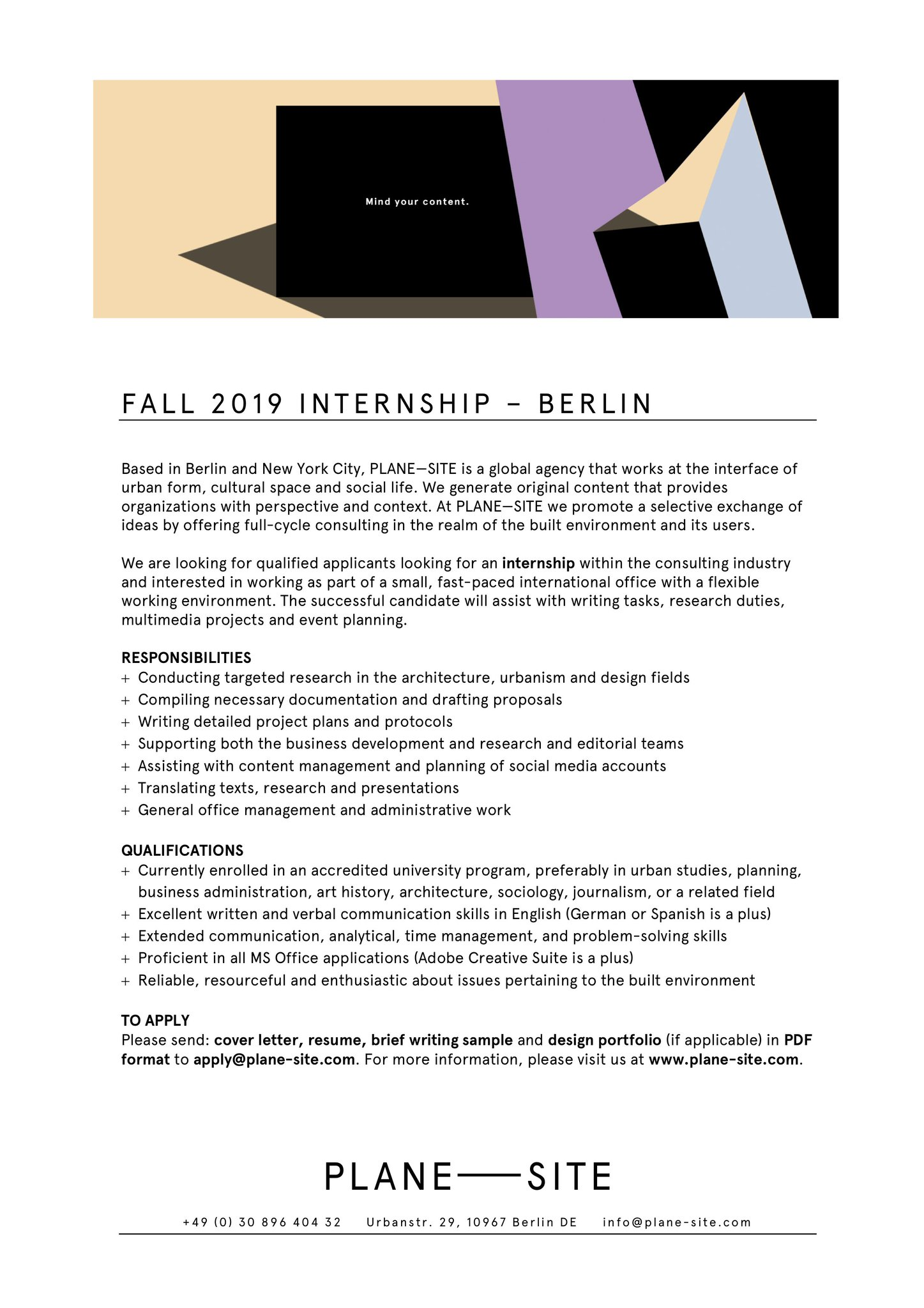 Plane Site On Twitter Join Plane Site As Our New Fall 2019 Intern At Our Berlin Office Instructions For Applying Can Be Found In The Document Below Https T Co Rs7l5a6yte