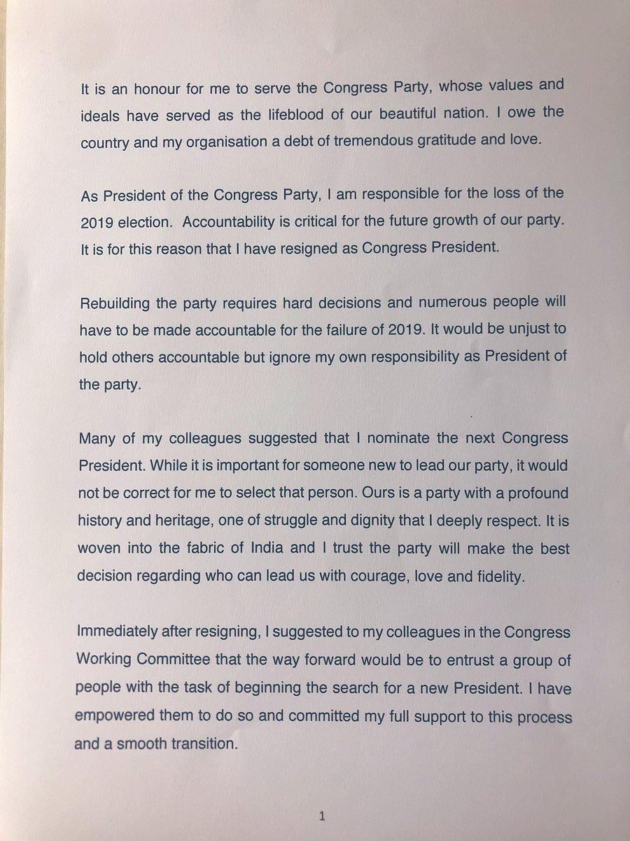 Rahul Gandhi resigns as leader of India's opposition Congress