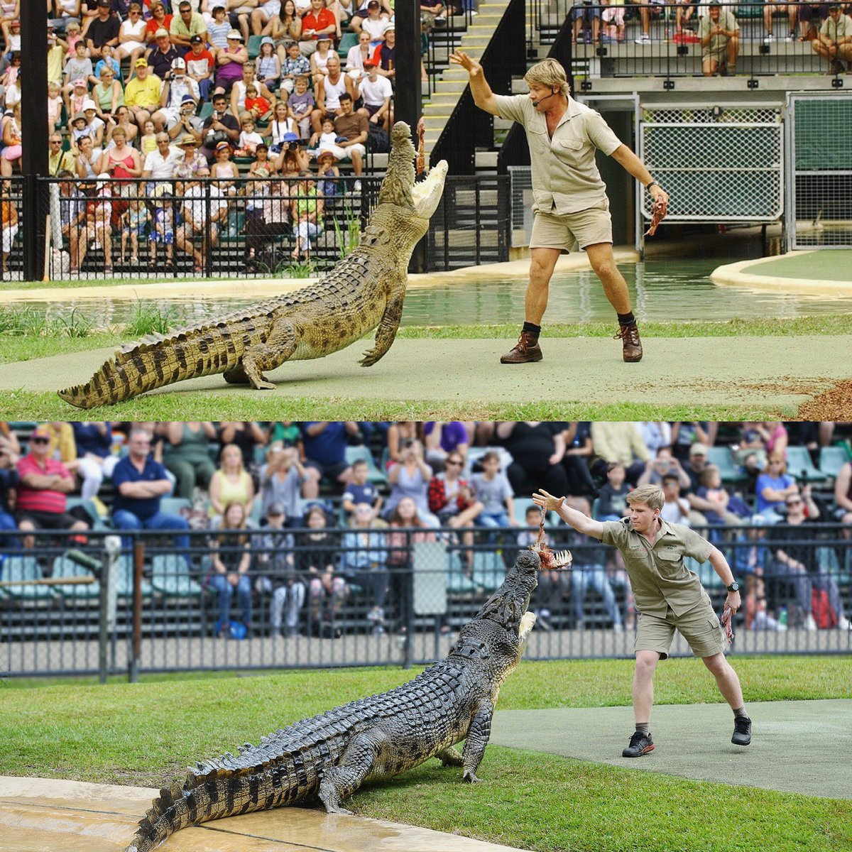 Dad and me feeding Murray... same place, same croc - two photos 15 years apart ❤️🐊