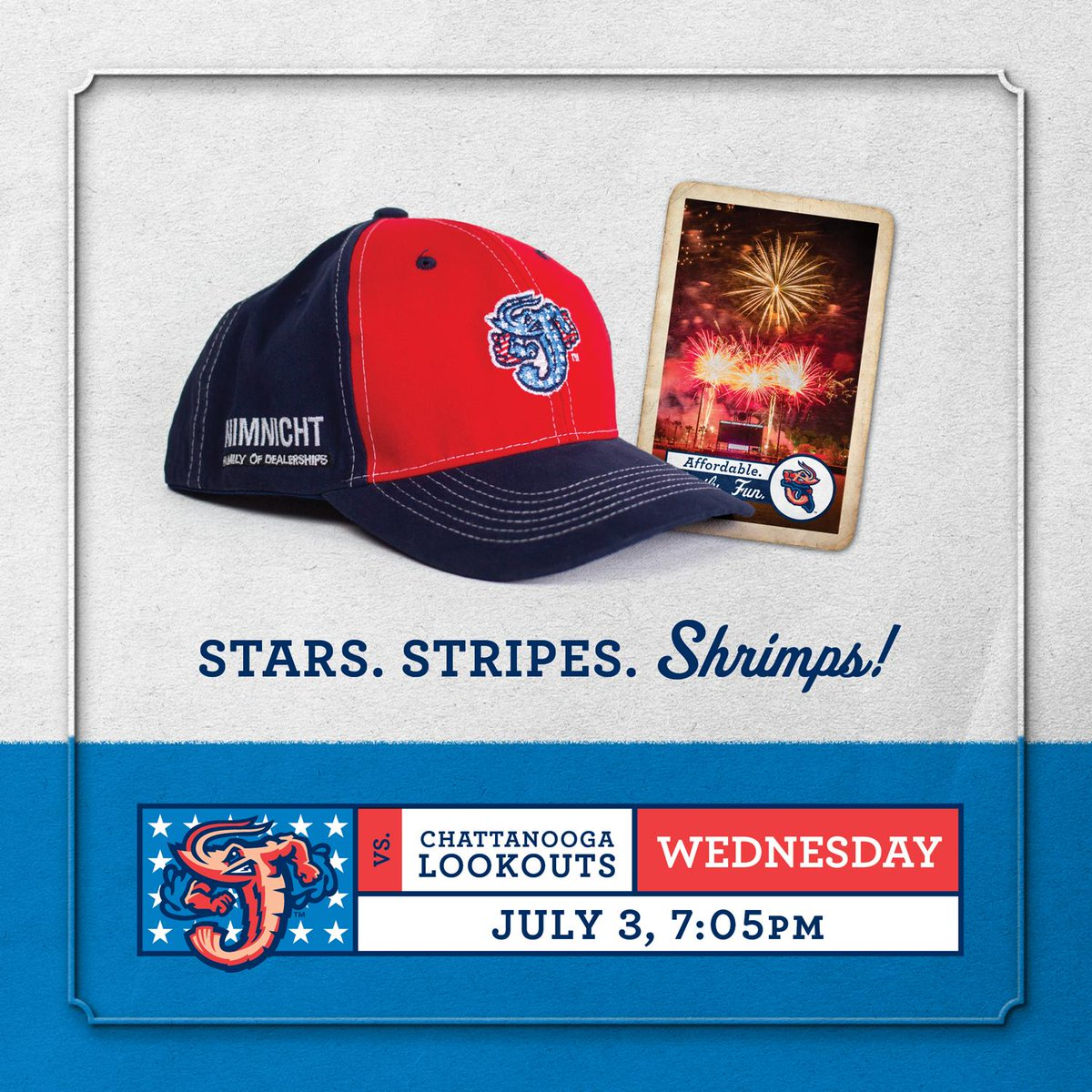 Jacksonville Jumbo Shrimp على تويتر First 2 000 Fans Get This Free Patriotic Jumbo Shrimp Hap Courtesy Of Nimnichtjax Following The Game We Ve Got The Biggest And Best Fireworks Display Around 7 General