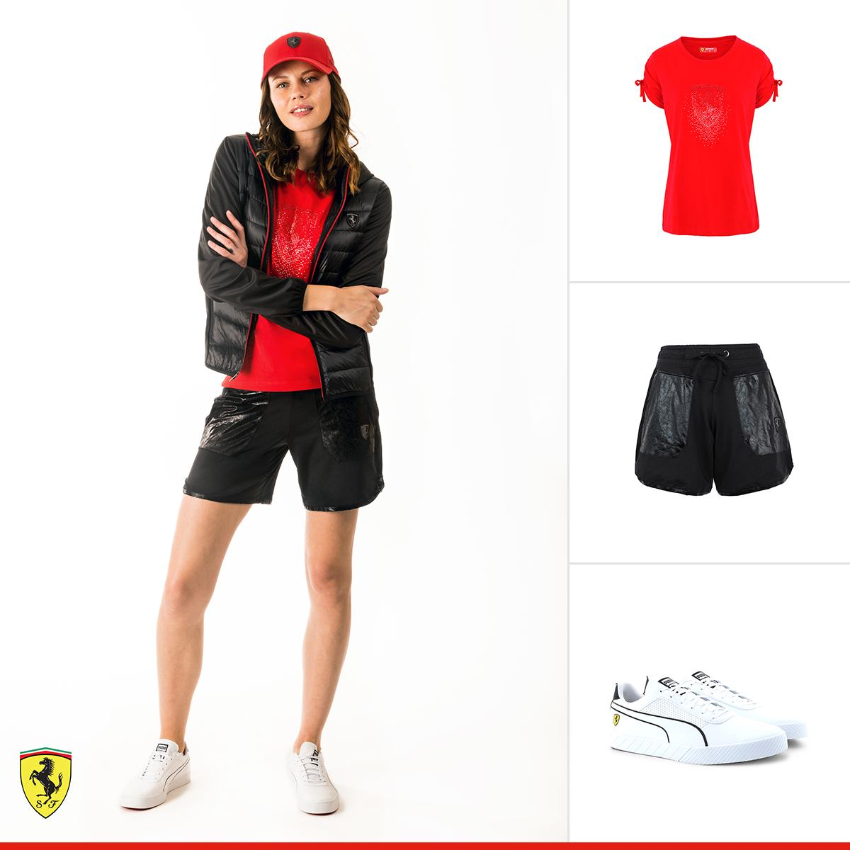 Wear perfection thanks to this #ScuderiaFerrariCollection outfit: a combination of charm and athletic attitude with colorful details. http://bit.ly/SFC-WomensLook #Ferrari