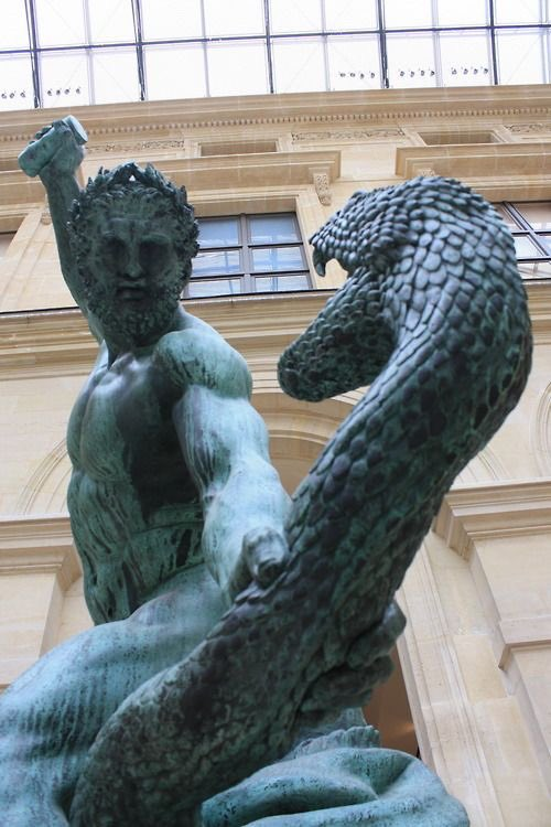 Hercules fighting Achelous metamorphosed into a snake at The Louvre, Paris