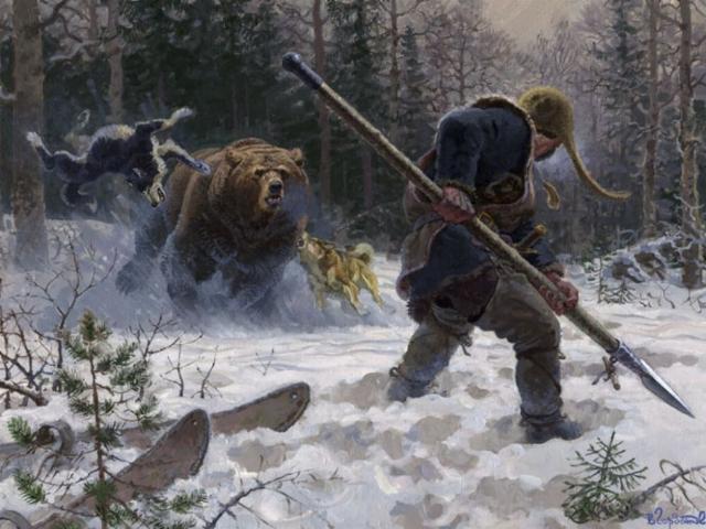 Поздравление, прикольная картинка охота на медведя