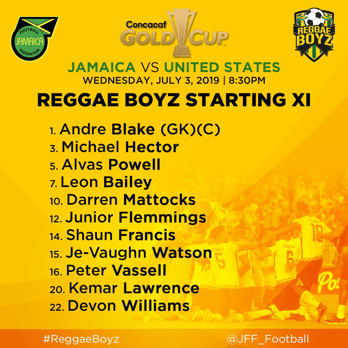 || Matchday 🇯🇲 vs 🇺🇸 || Senior #ReggaeBoyz starting XI for their game against United States! ||#2019GoldCup 🏆 Matchtime: 8:30pm(JA Time)  #JFFLive #ReggaeBoyz #GoldCup #ThisIsOurs #ReggaeFootball #StillOnTheBall