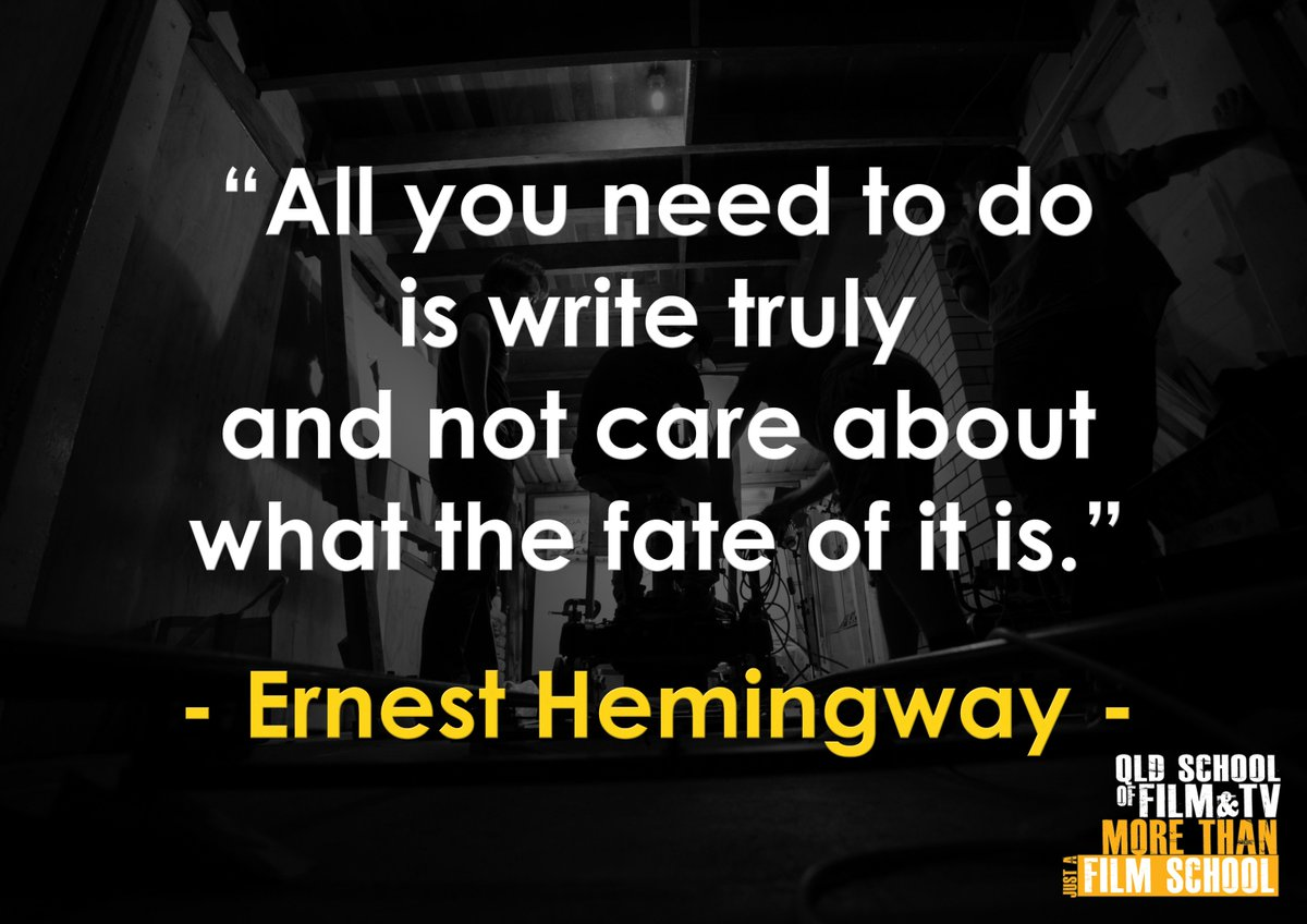 """. QUOTE OF THE DAY: """"All you need to do is write truly and not care about what the fate of it is."""" - Ernest Hemingway . . . #qsft #filmschool #qldfilmschool #filmmaker #studybrisbane #scholarship #diploma #certificate3 #studymedia #studyfilm #quoteofthedaypic.twitter.com/qwNRpX9fq2"""