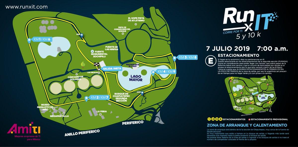 👀 Conoce la ruta de #RunXIt 👉 5k y 10k  ¡Deja que la tecnología te lleve a la meta!  Nos vemos el domingo 7 de julio ⚡️