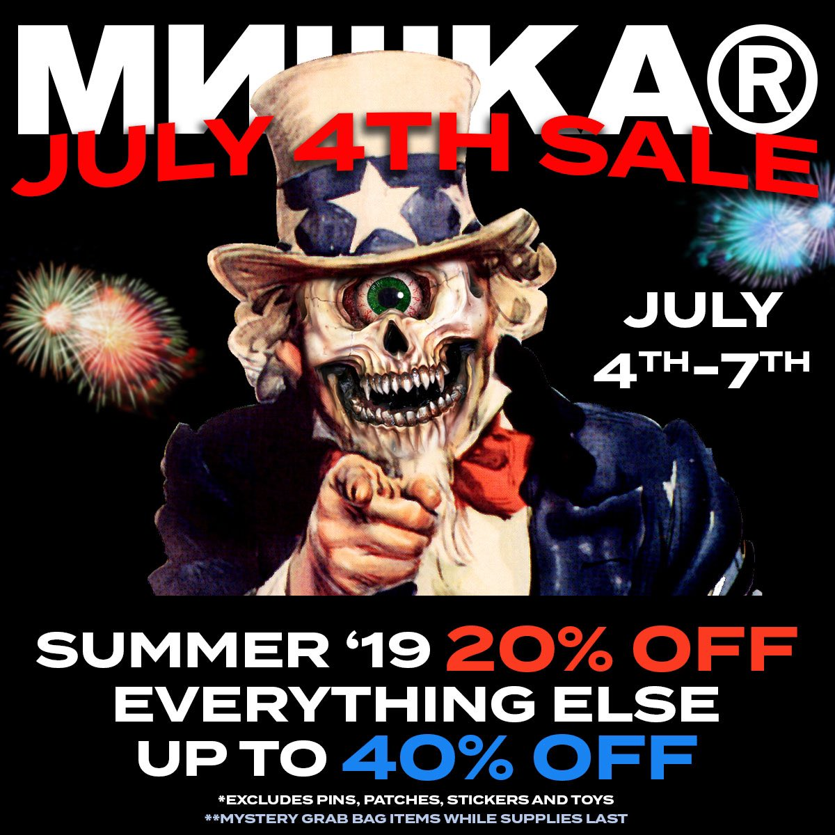 The Mishka 4th of July sale starts now! Mishkanyc.com/store