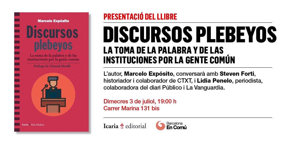 """Resultado de imagen de """"Discursos plebeyos"""" de Marcelo Espósito"""