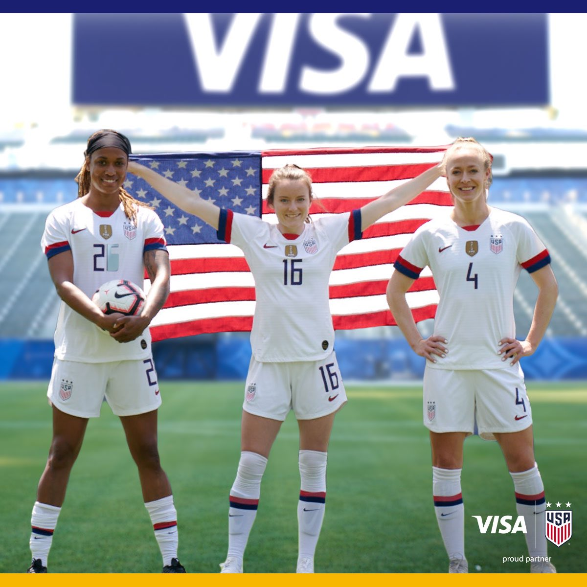 Fireworks, on and off the field. This Fourth of July, we celebrate the @USWNT and women everywhere who reach for their goals.   Visa. Proud partner of the U.S. Women's National Team.