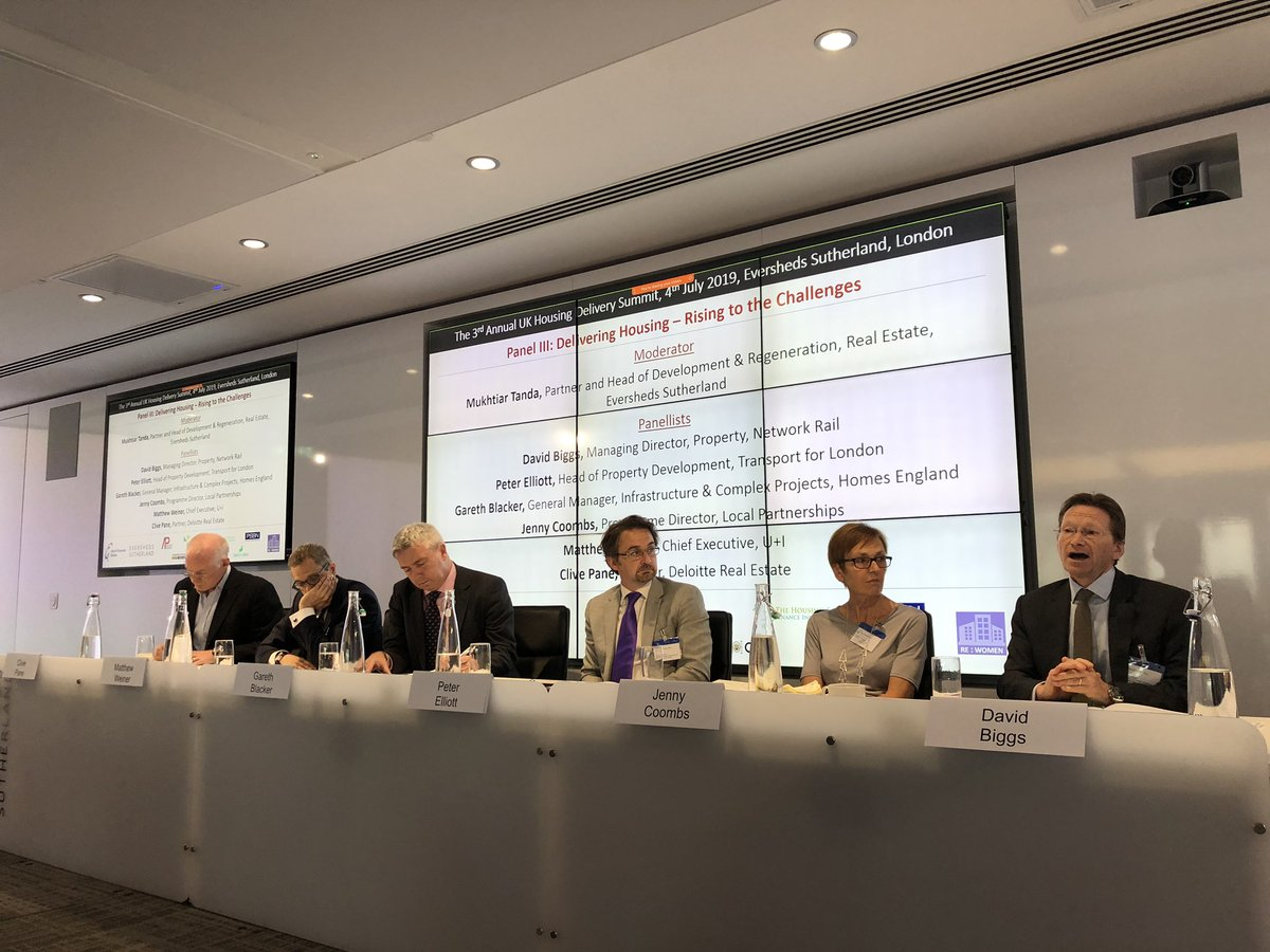 RT @cfconferences 'Delivering Housing – Rising to the Challenges' panel with @ESgloballaw @networkrail @gareth_blacker @HomesEngland @TfL @Deloitte @uandiplc @LP_localgov #UKHousing
