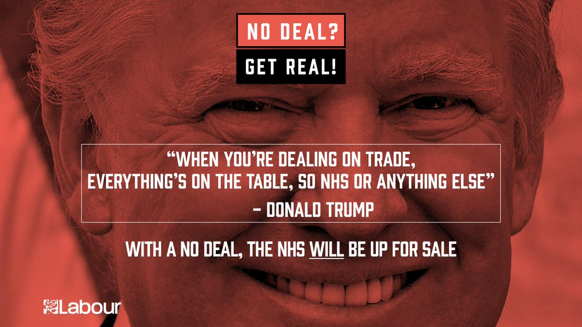 We can't let the Tories sell the NHS to Trump in a No Deal Brexit. Labour would campaign for Remain against No Deal or a bad Tory deal. Pass this on.