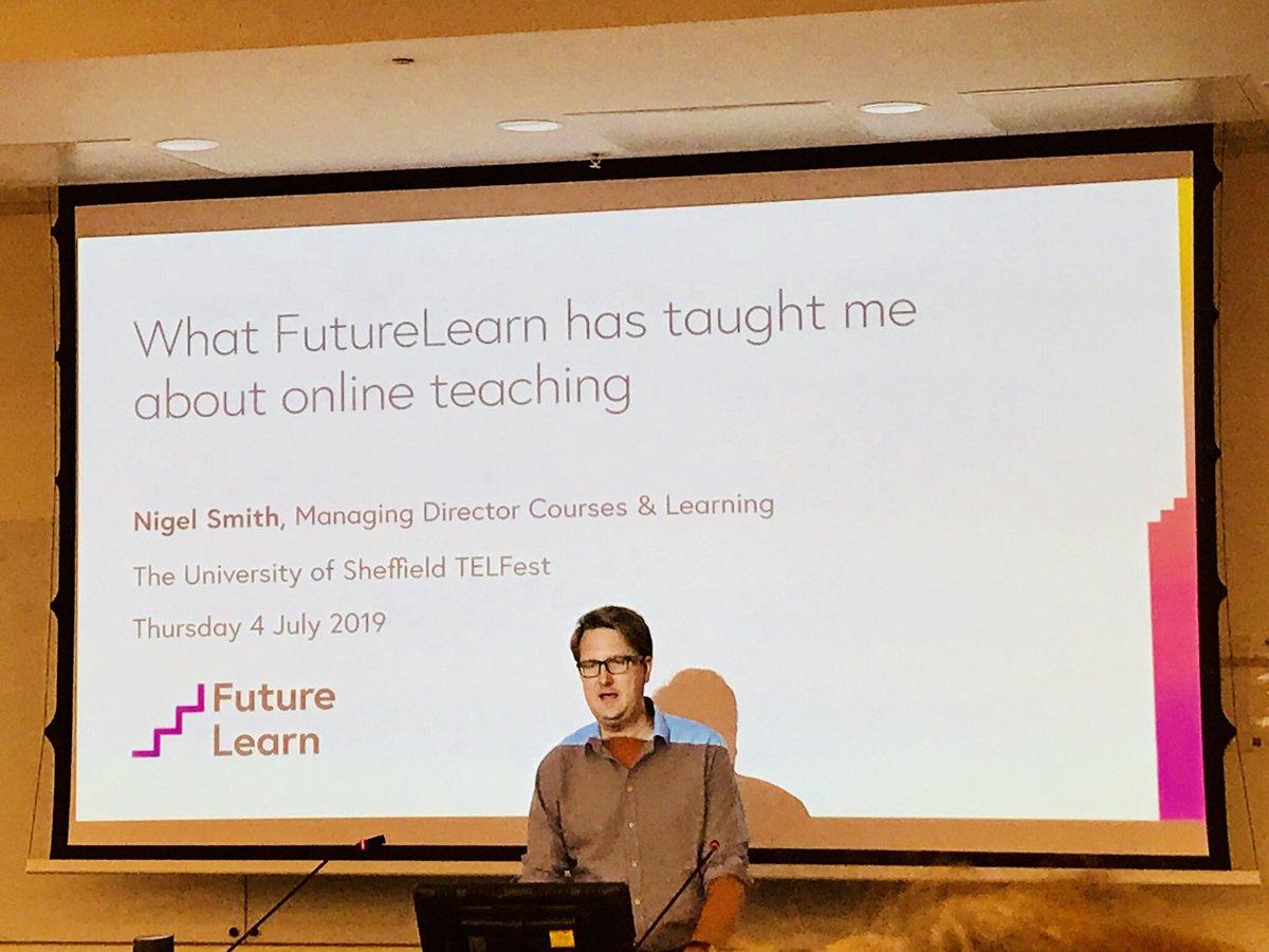 Nigel Smith, presenting the last keynote of the week. #TELfest #FutureLearn