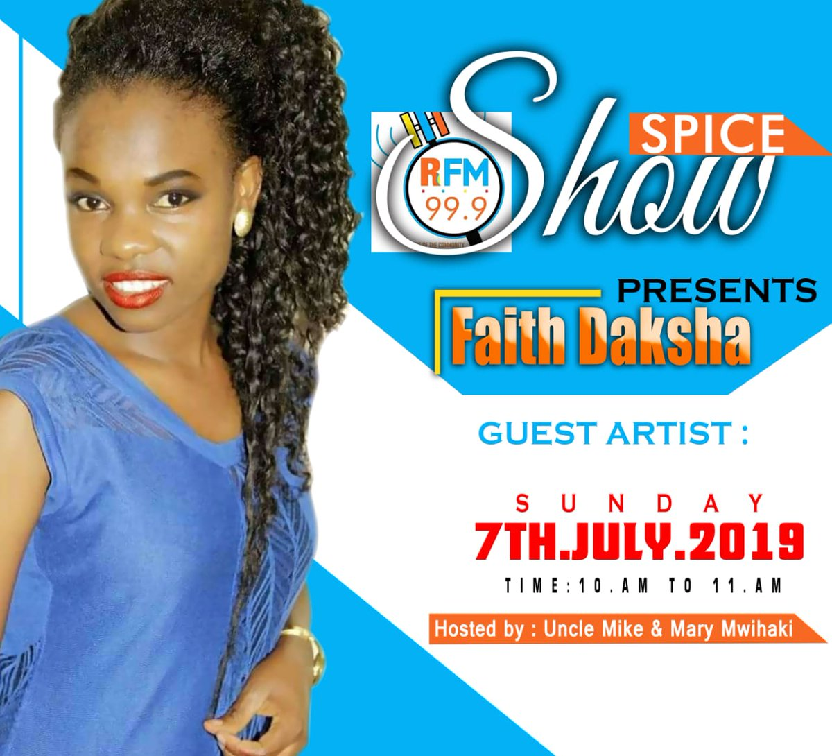 This Sunday on the #spiceshow we're excited to have @FaithDaksha in the house, hosted to you by @Em_Eye_Kay. Tune in and listen to her amazing journey.