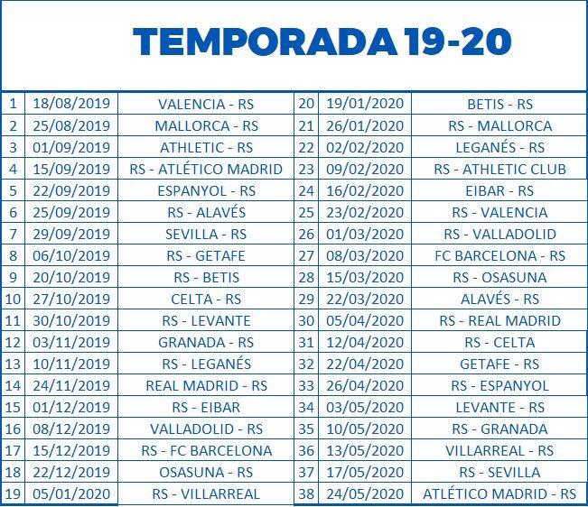 Calendario Valencia 2019.Ikeroker On Twitter 2019 20 Denboraldiko Liga Egutegia