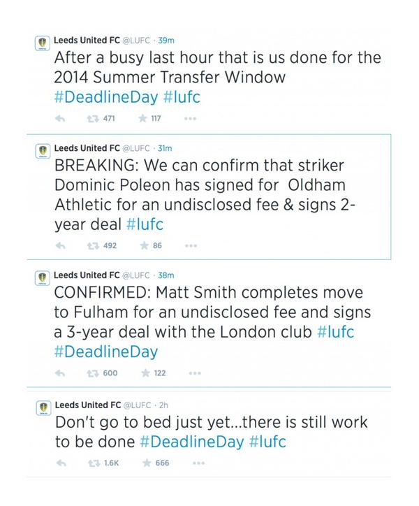 """HLTCO on Twitter: """"Never forget the time Leeds United told their fans not  to go to bed on Deadline Day, only to then announce the departure of two  players and no new"""