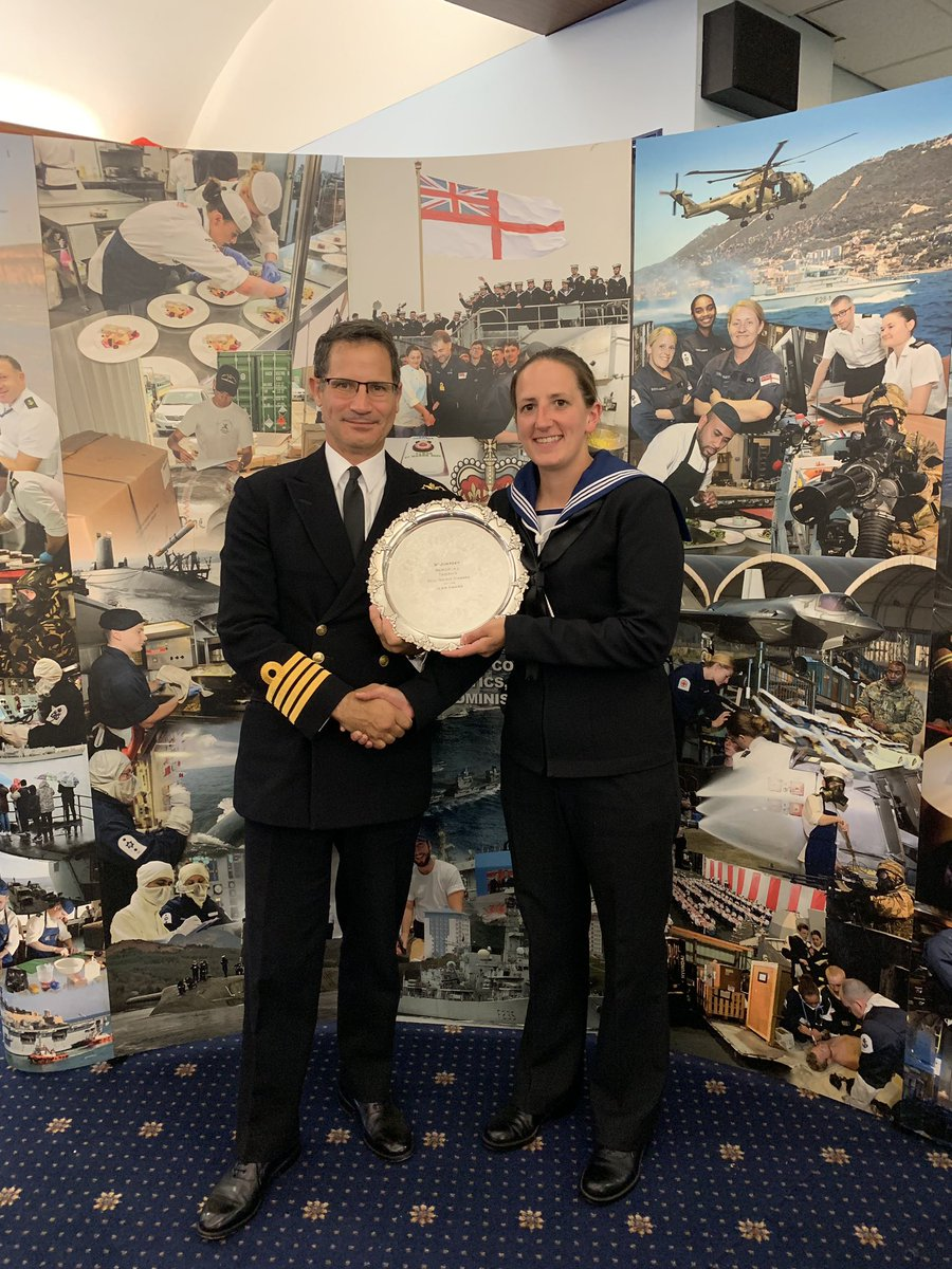 Honoured to receive my award from Captain Nic Dodd Royal Navy Commanding Officer Joint Services @HMSEnterprise