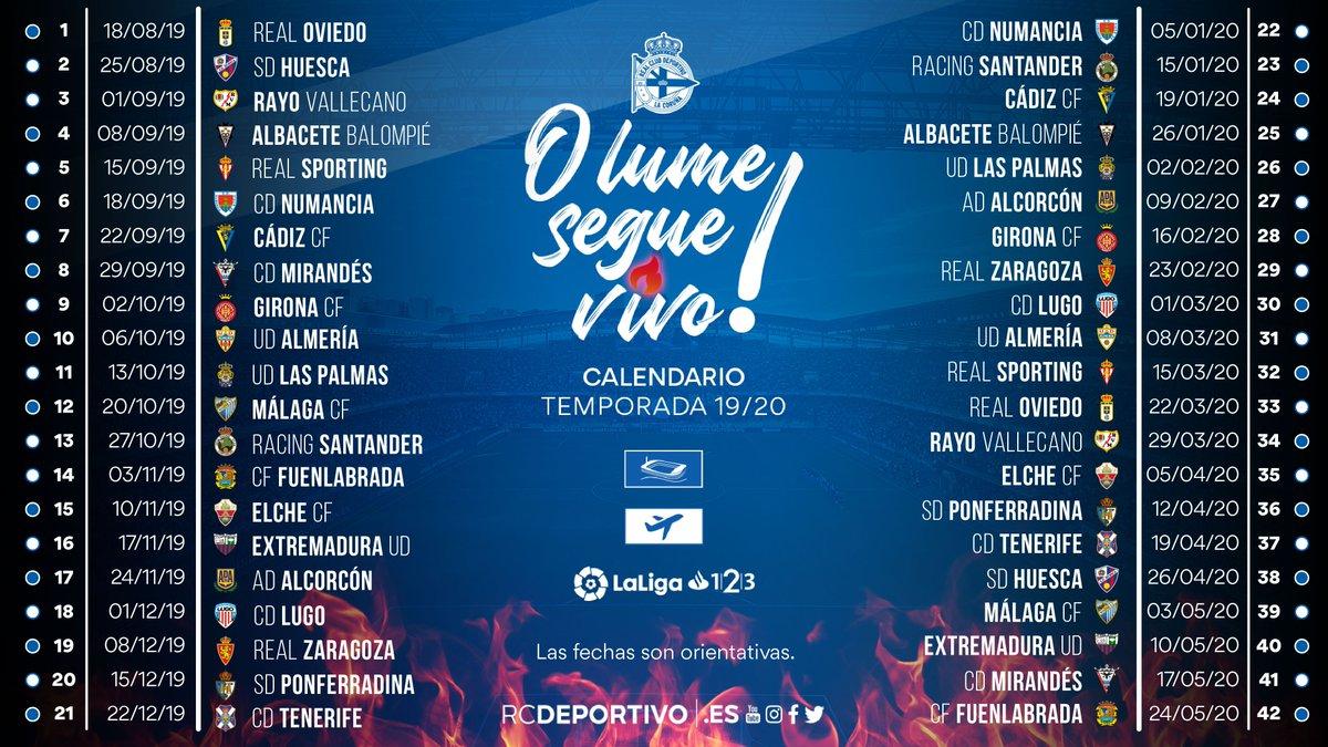Calendario La Liga 2019.Calendario Completo Del Depor 19 20 Fechas De Los Partidos Importantes