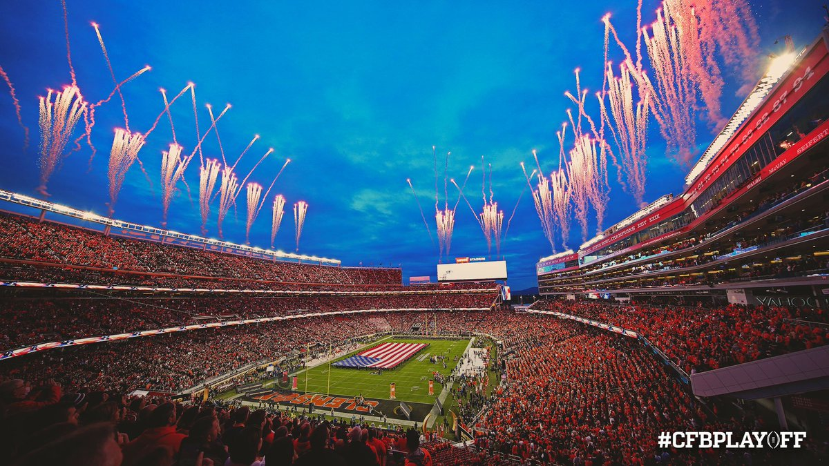 Oh beautiful, for spacious skies. Happy #4thofJuly from the #CFBPlayoff! 🇺🇸 #IndependenceDay #FourthofJuly