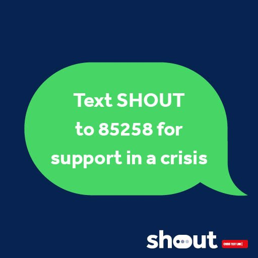 """Heads Together on Twitter: """"Nobody should face a mental health crisis alone. Share @GiveUsAShout's number with those close to you. If you're experiencing a crisis (or you know someone who is) text"""