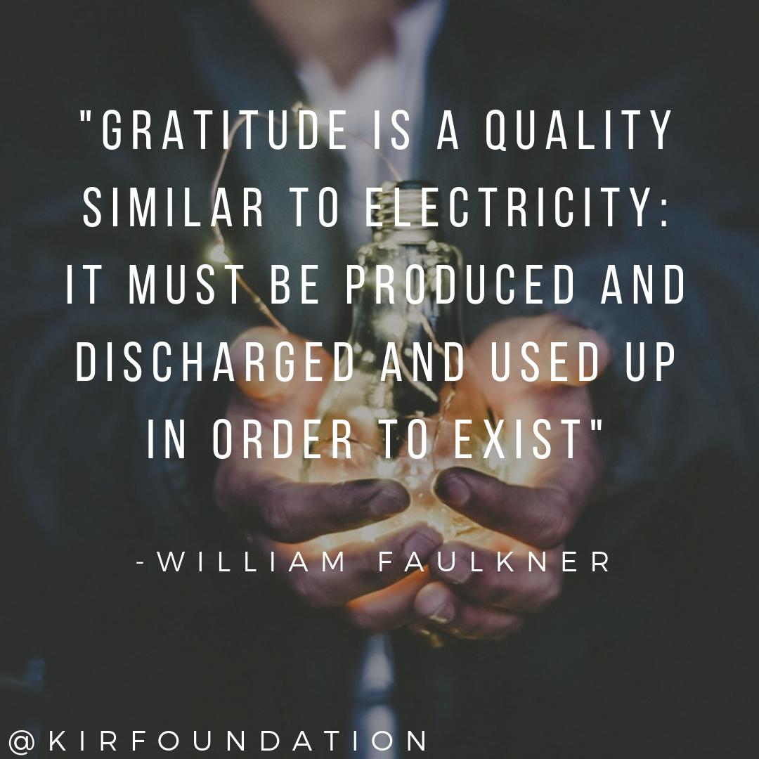 """""""#gratitude is a quality similar to electricity: it must be produced and discharged and used up in order to exist"""" -WILLIAM FAULKNER   #thursdaymotivation #ThanksGivingThursday #inspiringquotes #Thanksgiving #quotes #gratitudequotes <br>http://pic.twitter.com/Czr82h2TIg"""