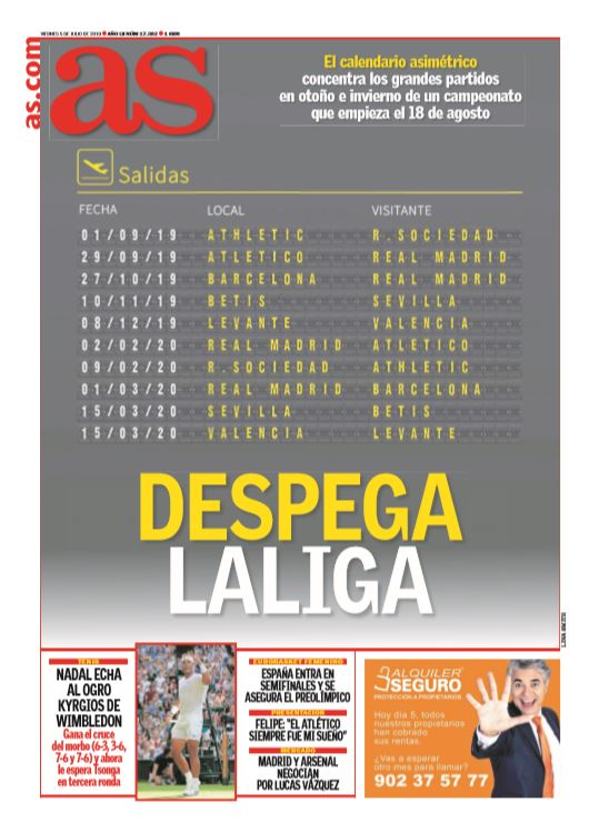 Calendario Real Madrid 2019.Footballespana On Twitter Friday S Front Page Headlines From Marca