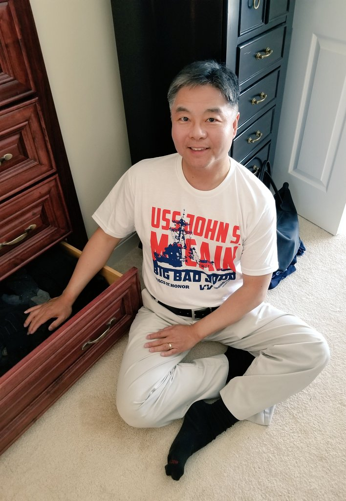 Did I watch the campaign speech of @realDonaldTrump at the event where @GOP RNC doled out VIP passes to the #TrumpParade? NO. I had more important things to do, such as rearranging my sock drawer. Also, thank you @votevets for the super cool T-shirt.