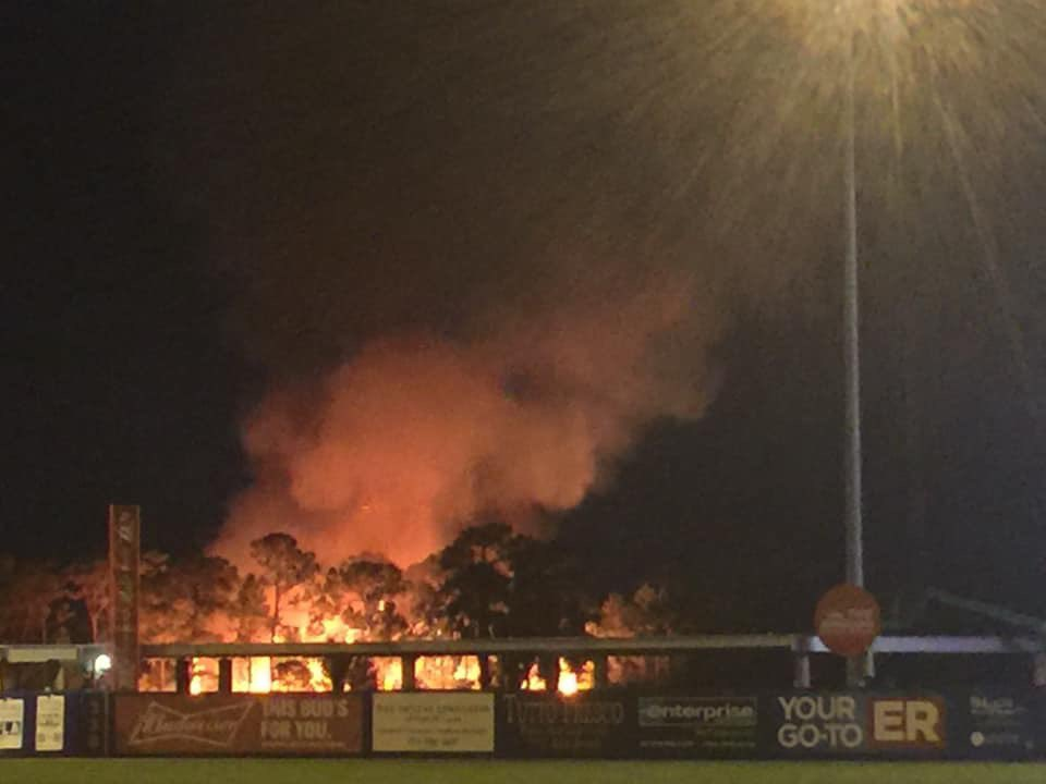 The fireworks for the St. Lucie Mets did not go well tonight at First Data Field. They set a fire outside the stadium.   Photos from Shannon Cullen