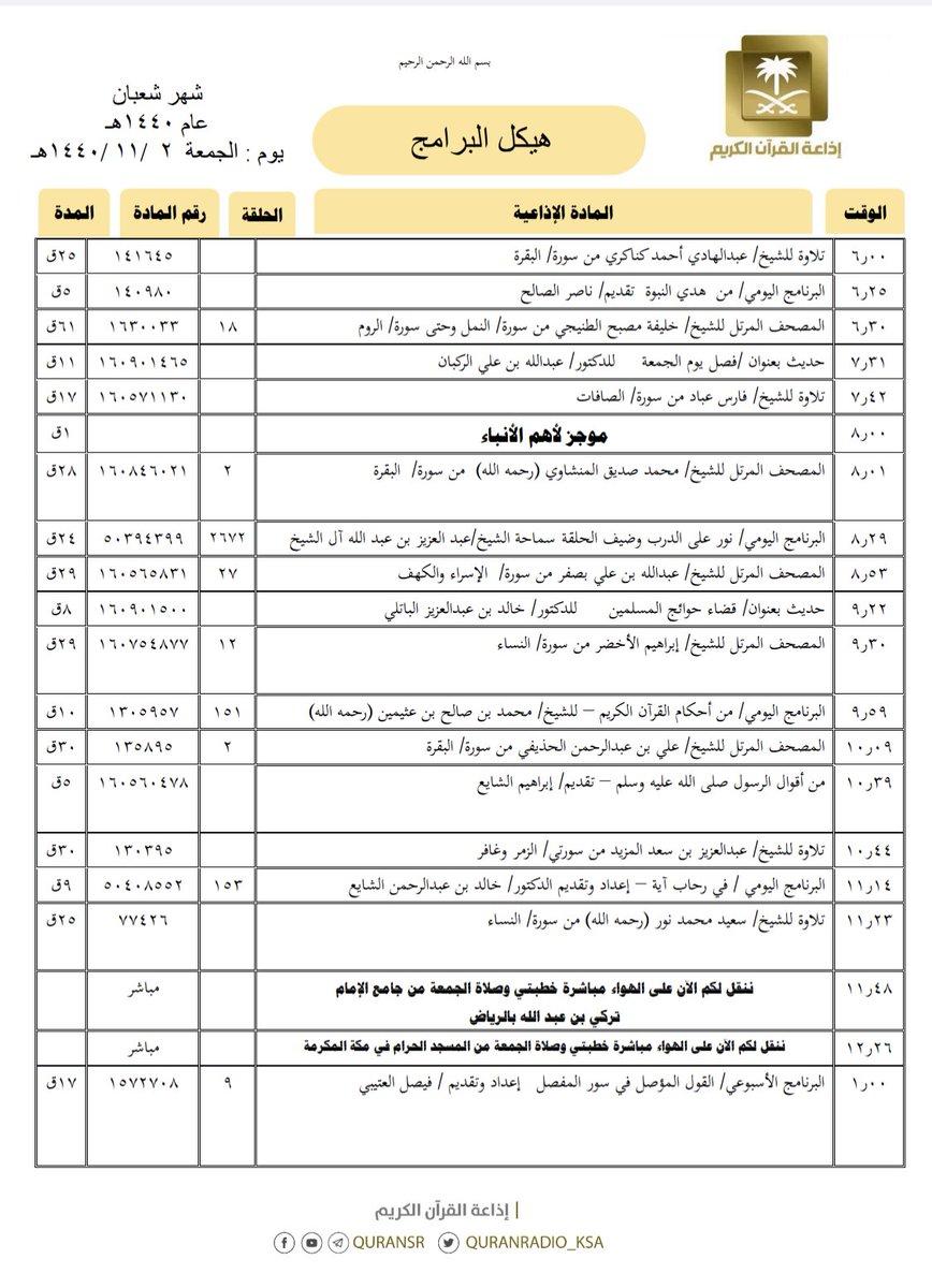 bd2618a3d هيكل تلاوات وبرامج #إذاعة_القرآن_الكريم ليوم #الجمعة 1440/11/2pic.twitter. com/TGrBhpydOD
