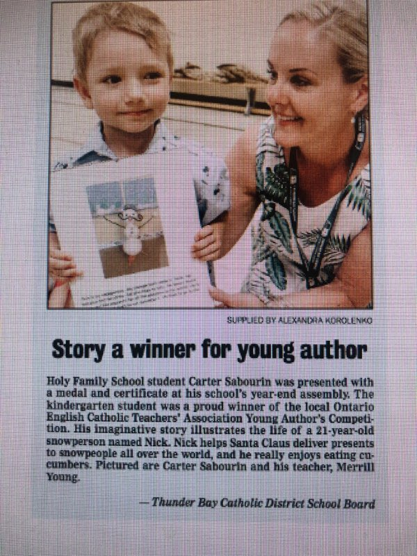 ⭐️🖊GREAT NEWS⭐️🖊 Did you see Carter and his teacher Mrs. Young in the paper today?  We sure did!  Awesome job Carter!! #tbay #tbcschools #holyfamily #oecta