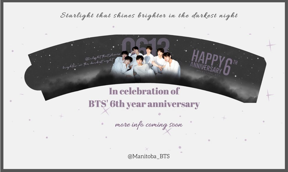 Never too late to celebrate @BTS_twt's 6th year anniversary!   Stay tuned for the event details  #6YearsWithOurHomeBTS #BTSmanitoba<br>http://pic.twitter.com/3qWwPPOIjH